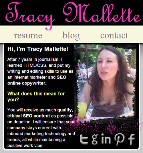 Homepage image of Tracy Mallette's website